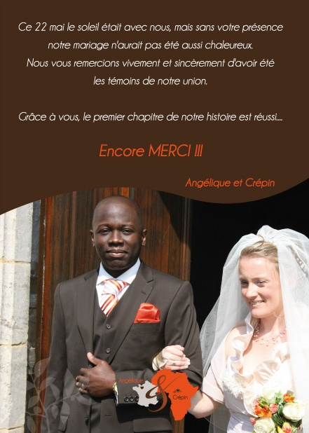 remerciement mariage franco-africain